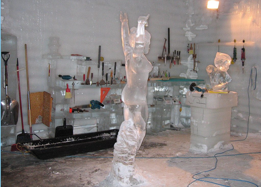 Ice carving work area