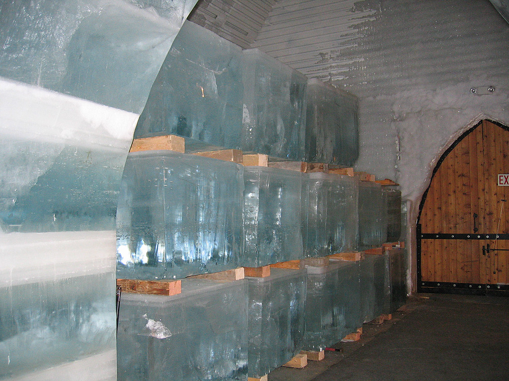The huge blocks of ice used for carving in the Aurora Ice Hotel Museum