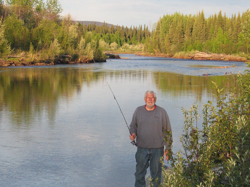Mike fishing at 5:15 in the morning along the Chena River