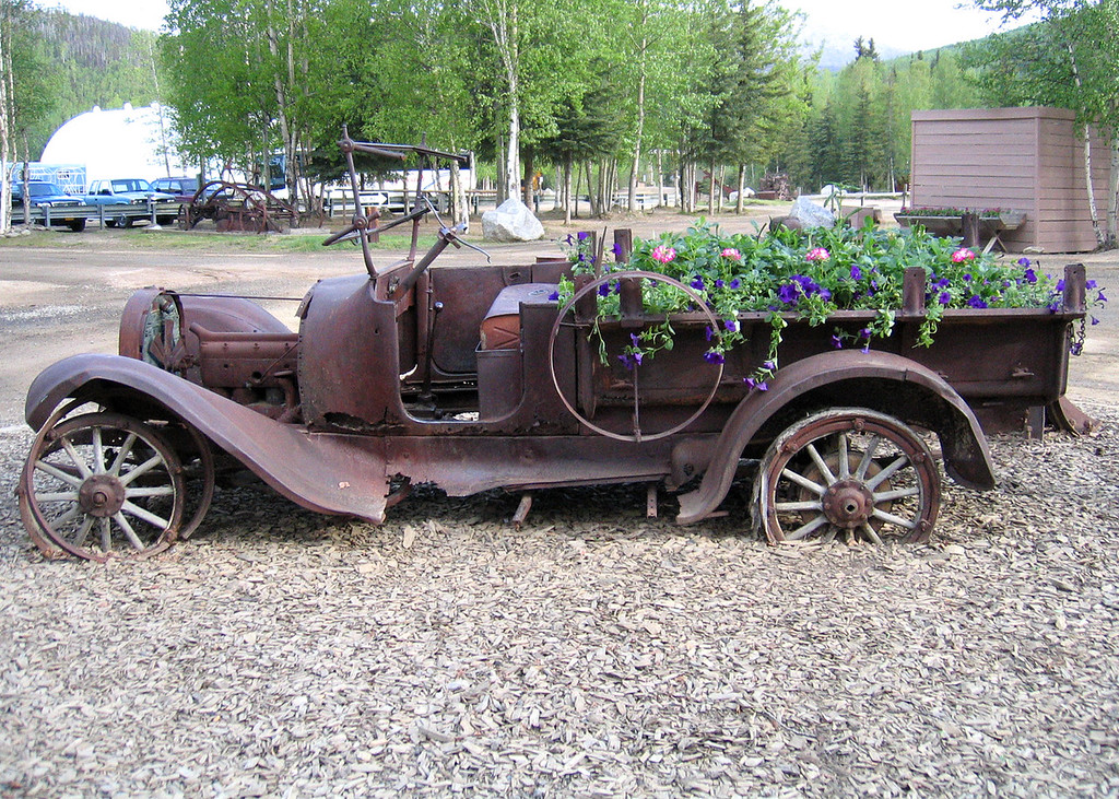 Old car used as flower pot at Chena Hot Springs