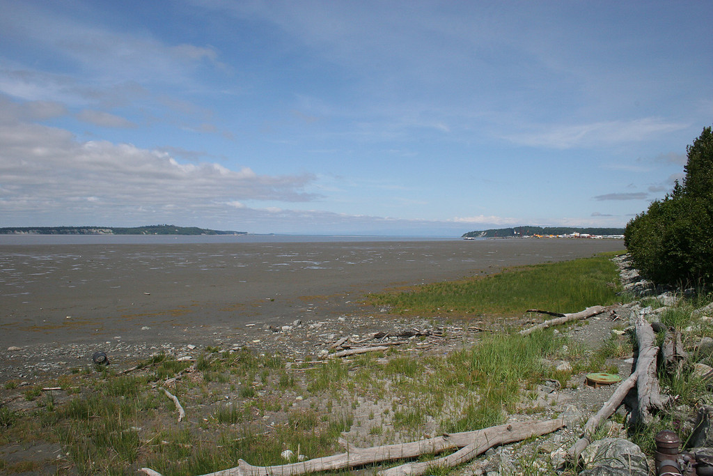 Mud flats along the Cook Inlet with McKenzie Point in the background.  Along the Chester Creek trail.