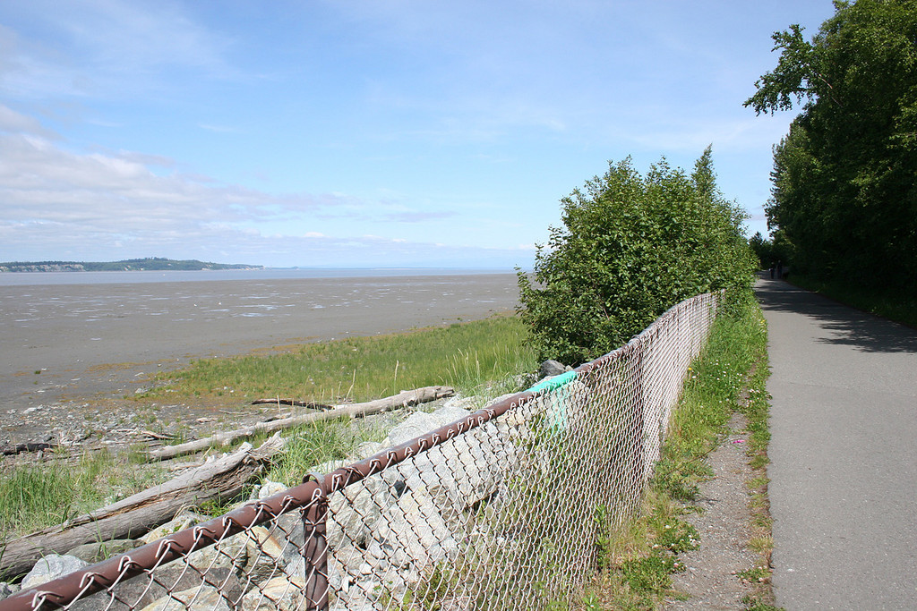 Mud flats along the Cook Inlet with McKenzie Point in the background.  Along one of many bike trails in Anchorage.