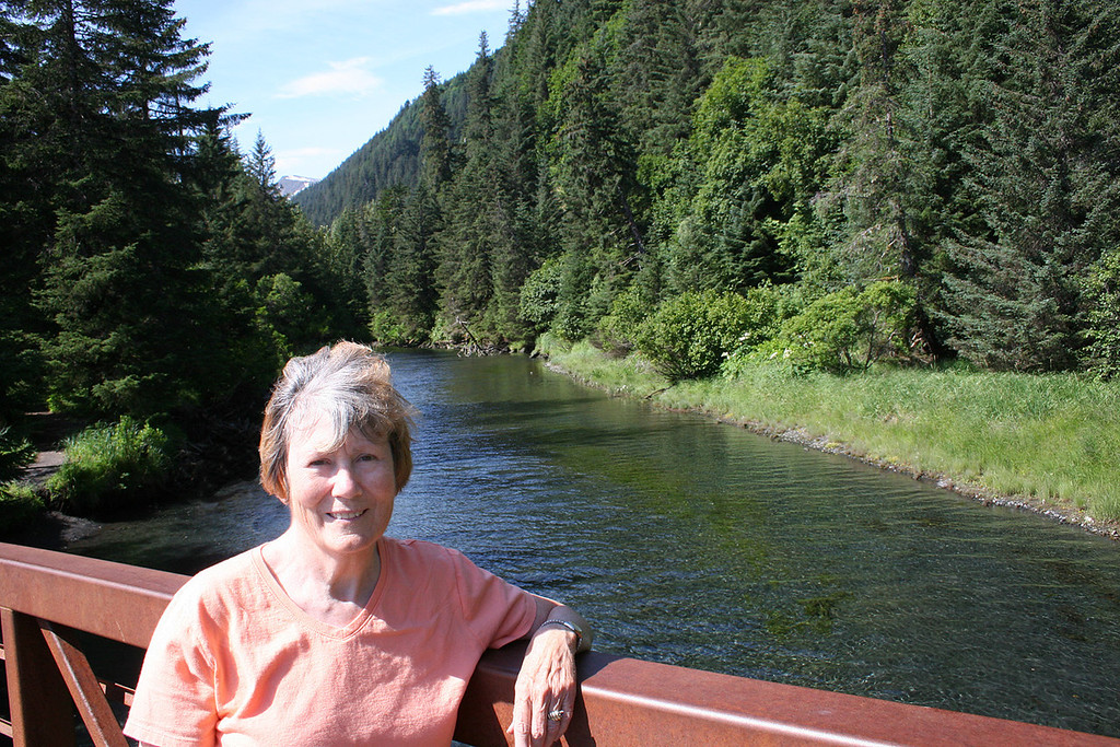 Susan on bridge over Tonsina River at Tonsina Point, Seward, AK