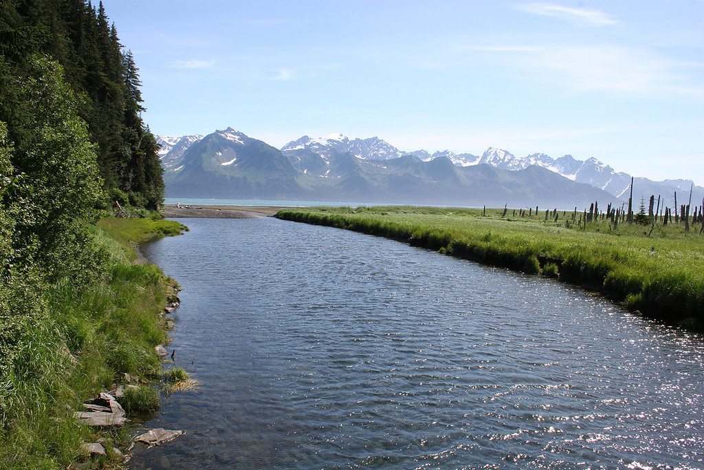 Tonsina River at Tonsina Point, Seward, AK with Resurrection Bay in background