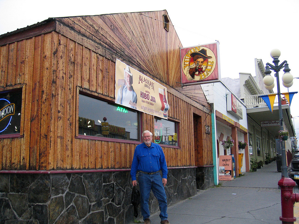 Mike in front of Yukon Bar where Hobo Jim plays, Seward, AK