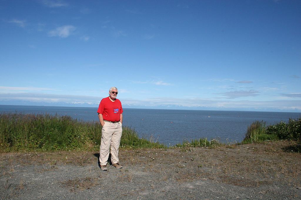 Mike on bluff overlooking Cook Inlet on Kalifornsky Road, Kenai, AK