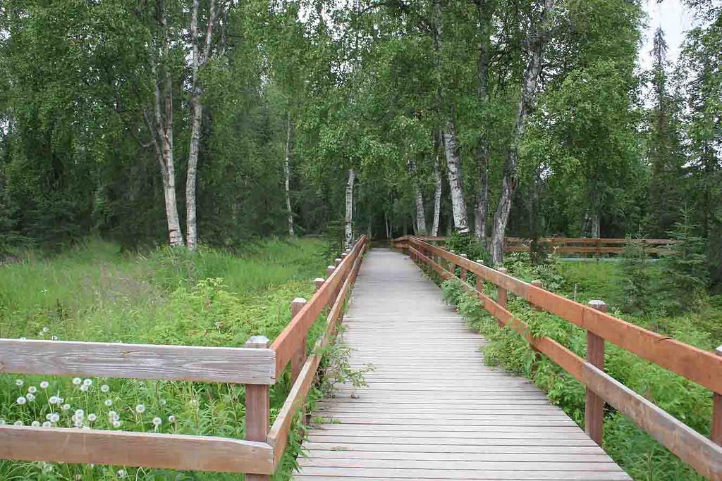 Boardwalk along Kenai River at Centennial Campground, Soldotna, AK