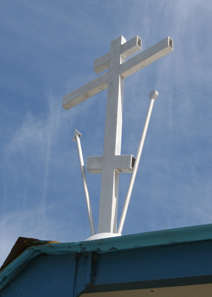 Cross on the roof of St. Nicholas church at Nikolaevsk, AK, off North Fork Road.