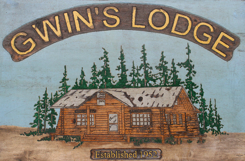 Sign for Gwin's Lodge
