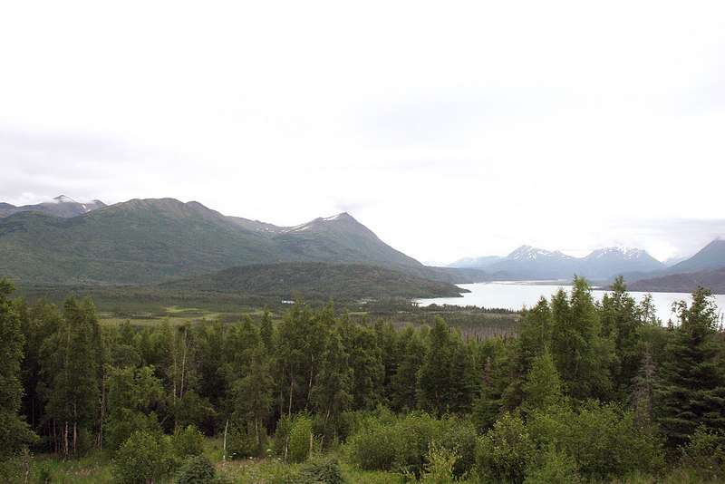 Bear Mountain with the Kenai River and Hidden Creek entering Skilak Lake