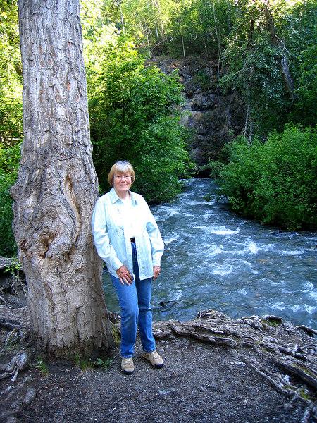 Susan along Eklutna River