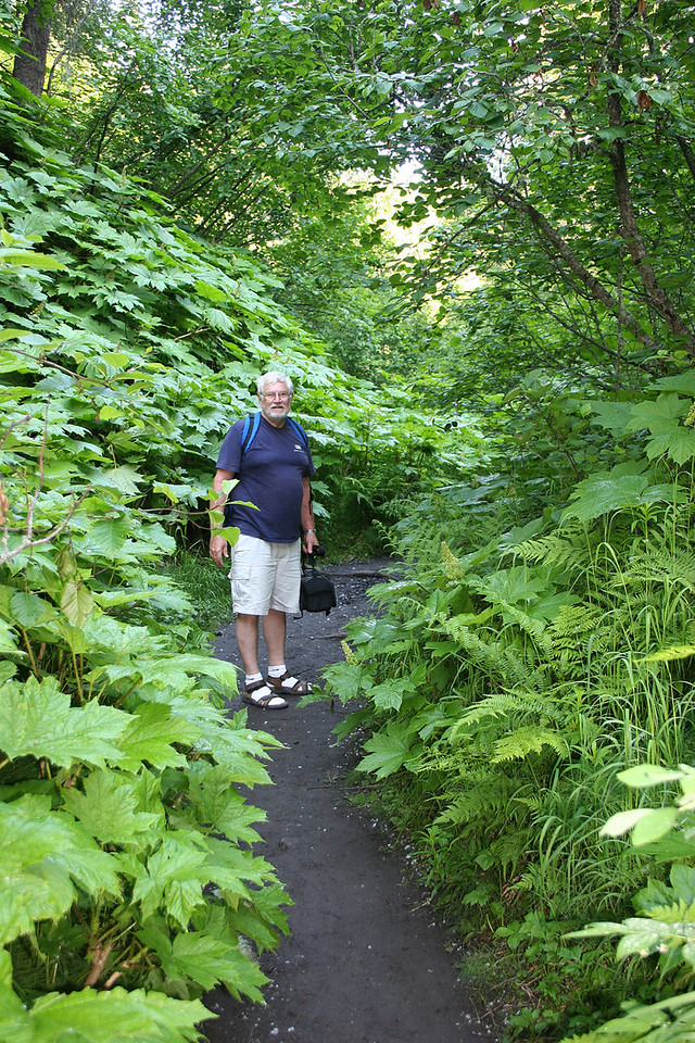 Mike along trail down to the river