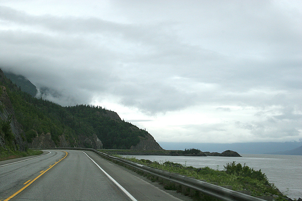 Just south of Anchorage as the road skirts Turnagain Arm and the mountains jut up from the water