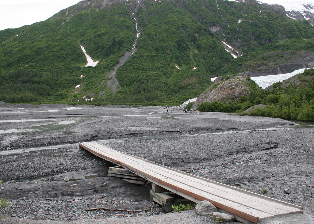 Boardwalk in river at Exit Glacier