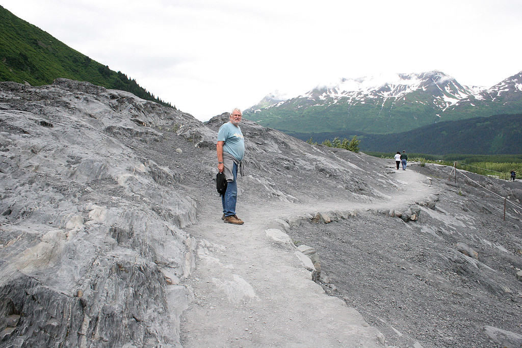 Mike walking on trail that skirts Exit Glacier