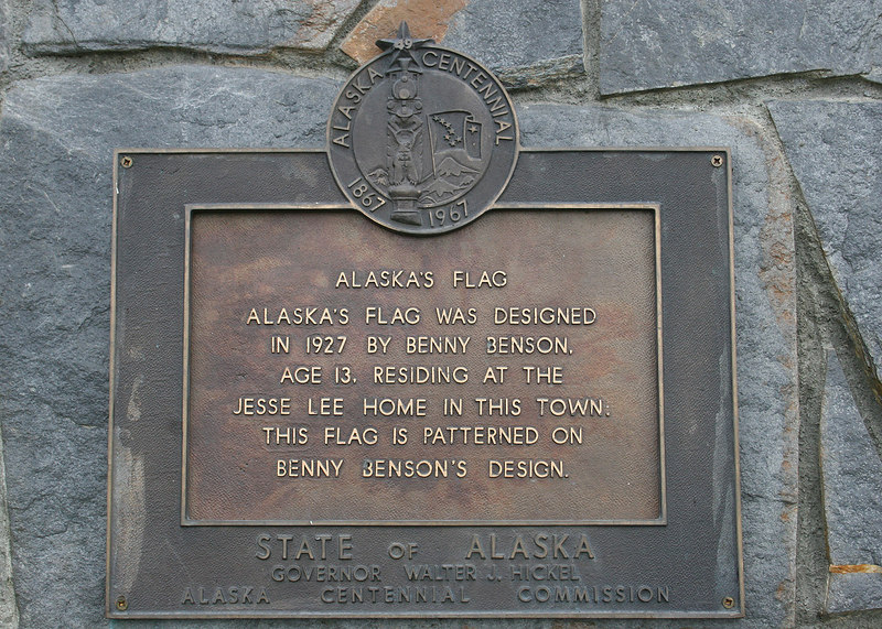 A plaque at the Benny Benson memorial
