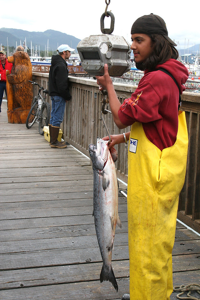 Weighing in a big salmon