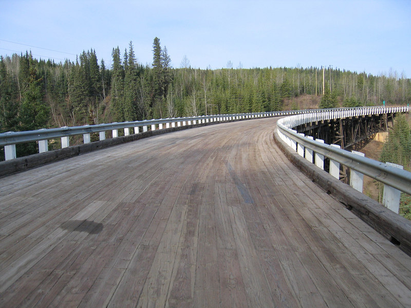 5/11/06 - This shows the curved wooden surface of the Kiskatinaw bridge