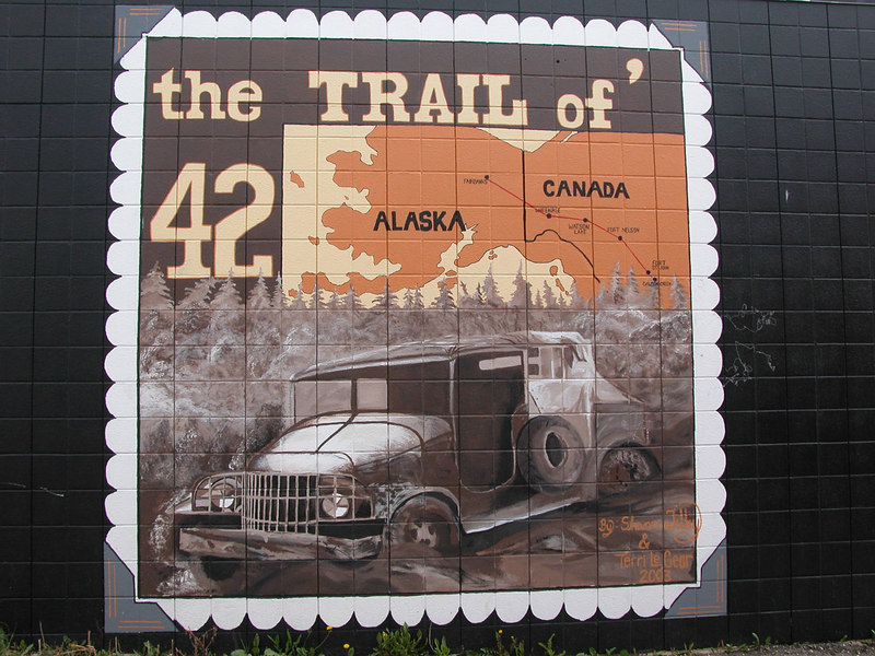 "5/11/06 - There are many murals on the Dawson Creek buildings. This one depicts the ""Trail of 42""."