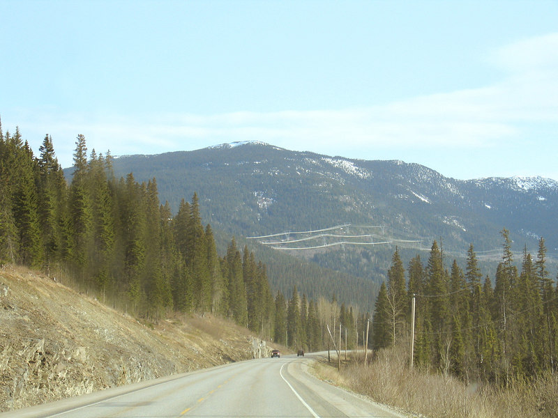 Power lines running in mountains, 100 miles north of Prince George