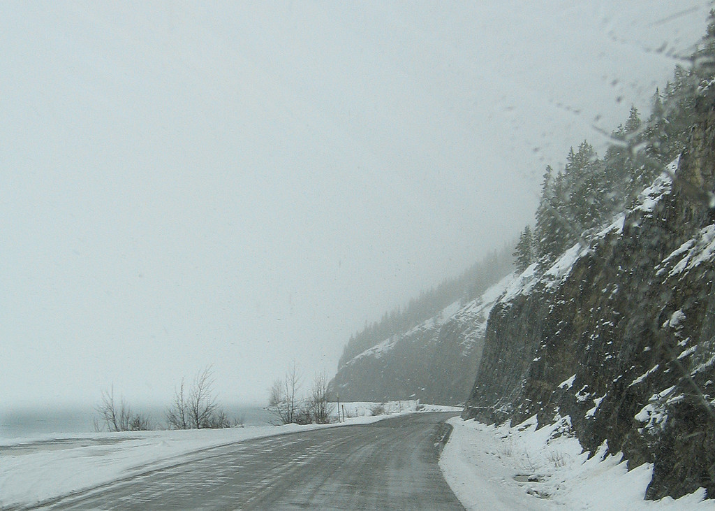 Muncho Lake, BC.  This is where we had planned on spending the night but it is SNOWING and everything is closed, so we drive on!!