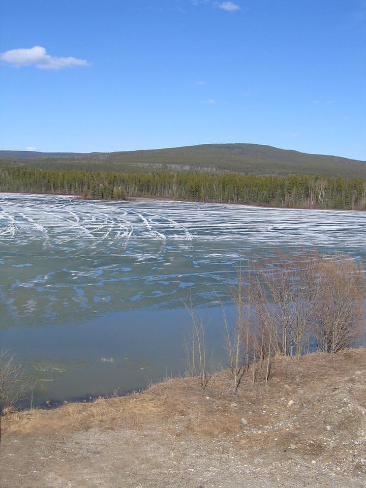 Ice on Wye Lake in Watson Lake, YT