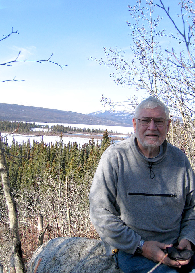 Mike at Swan Lake about 104 miles west of Watson Lake, YT