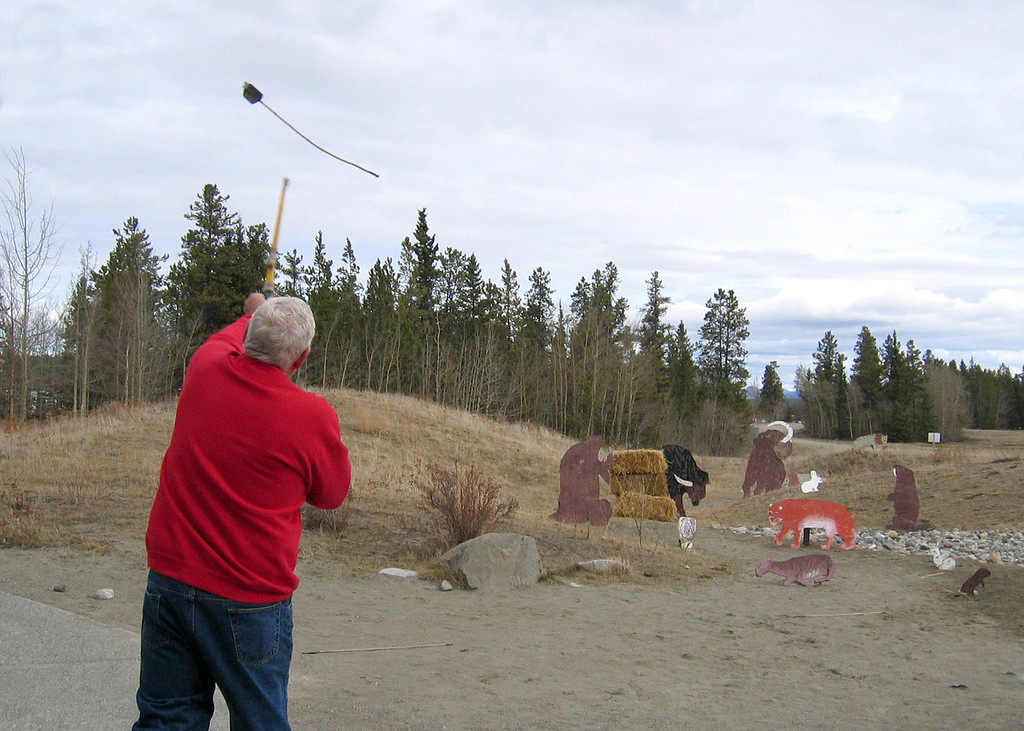 5/18/05 - Yukon Beringia Interpretive Centre; Mike using atlatl,.  He was pretty good at it and said the motion was not unlike fly fishing.
