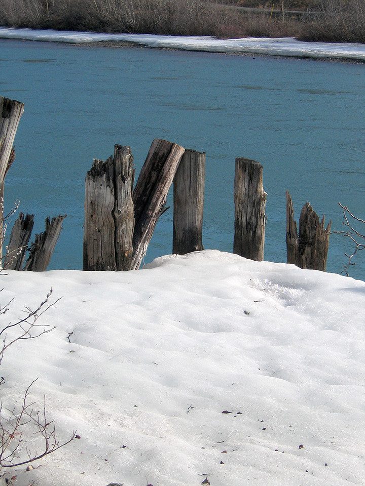 5/18/06 - Piers in the snow and Yukon River beyond