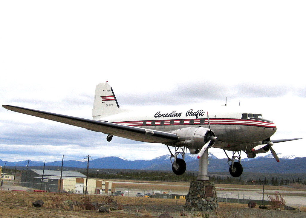 5/18/06 -  The world's largest weather vane.  It is a Douglas CD-3.  It flew for several Yukon airlines from 1946 until 1970 when it blew an engine during takeoff.  The plane was restored and mounted on a rotating pedestal in 1981.  It now acts as a weathervane, pointing its nose into the wind.