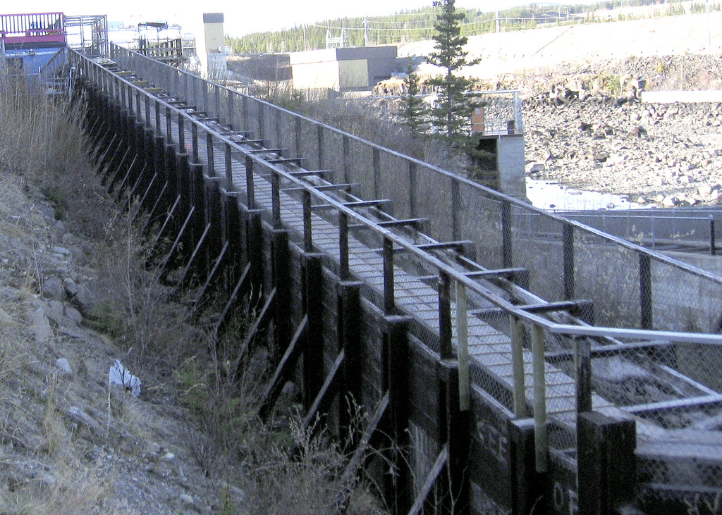 5/18/06 - The Fishway flows from mid-July to early September during salmon spawning season.  In the mid-1950s, when the dam was built, the fishway was built to ensure that the salmon could bypass the dam and reach spawning grounds upstream.