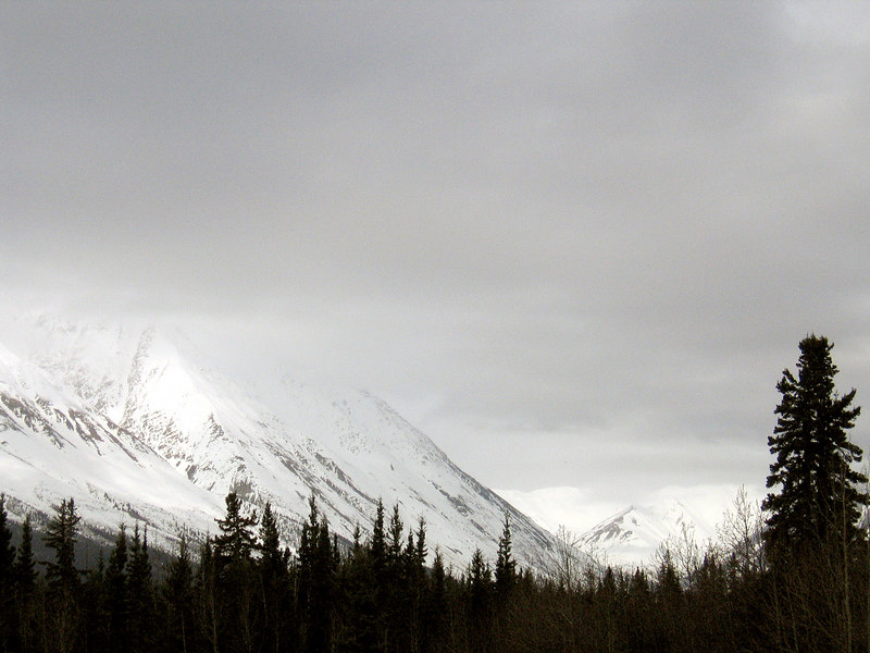 Mountain in clouds about 40 miles east of Haines Junction