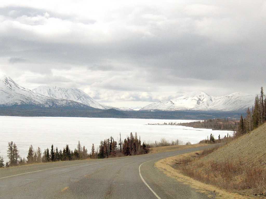 Coming down to Dezadeash Lake about 40 miles west of Haines Junction