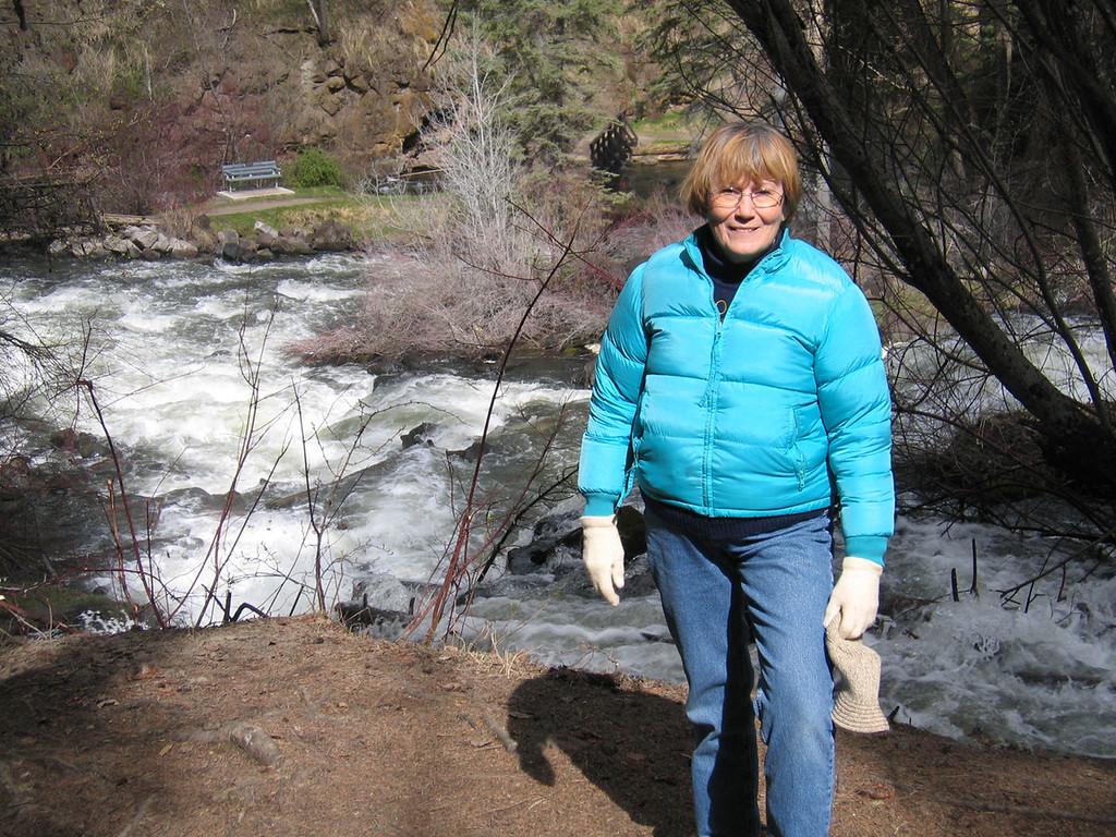 Susan at Bridge Creek Falls in 100 Mile House, BC