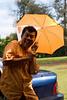 William with Rose niece's umbrella.
