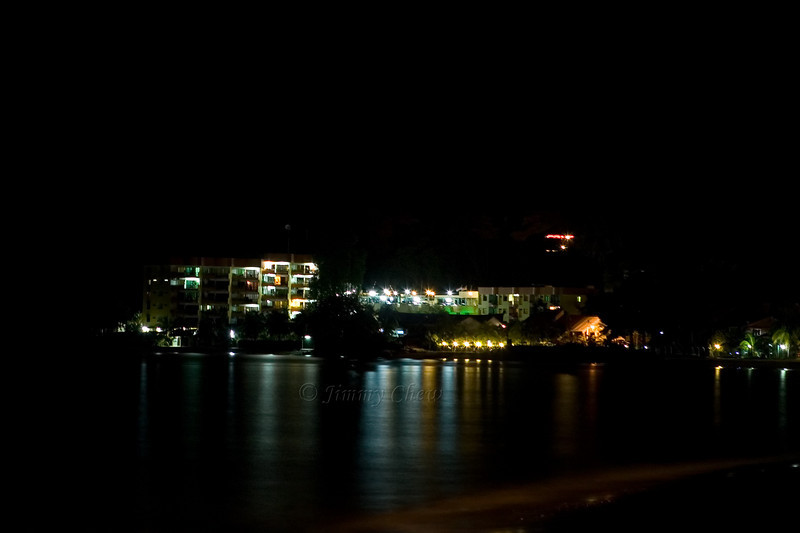 Night shot of a resort at the cape.