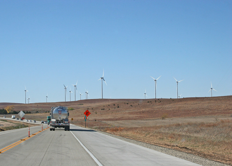 Windmills about 25 miles west of Salina, Kansas