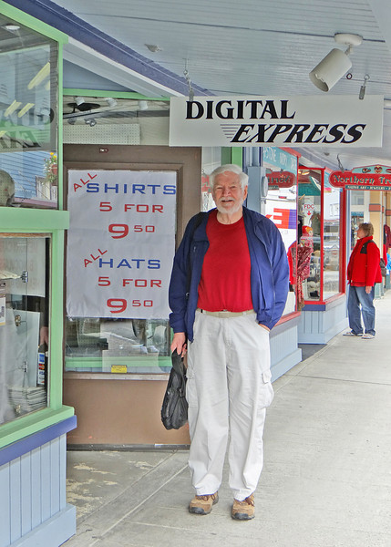 Mike in front of Digital Express.  This was the camera shop he mentioned in his book, Black Diamonds.