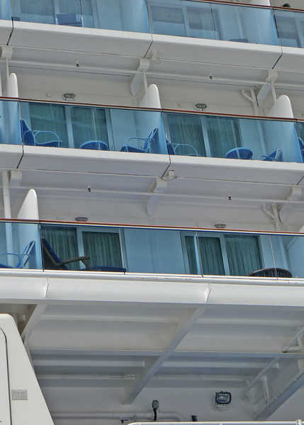 This is a picture of our balcony.  Ours is on the bottom.  We are spoiled this trip with a suite.  As you can see, the balcony is twice the size as the two above.