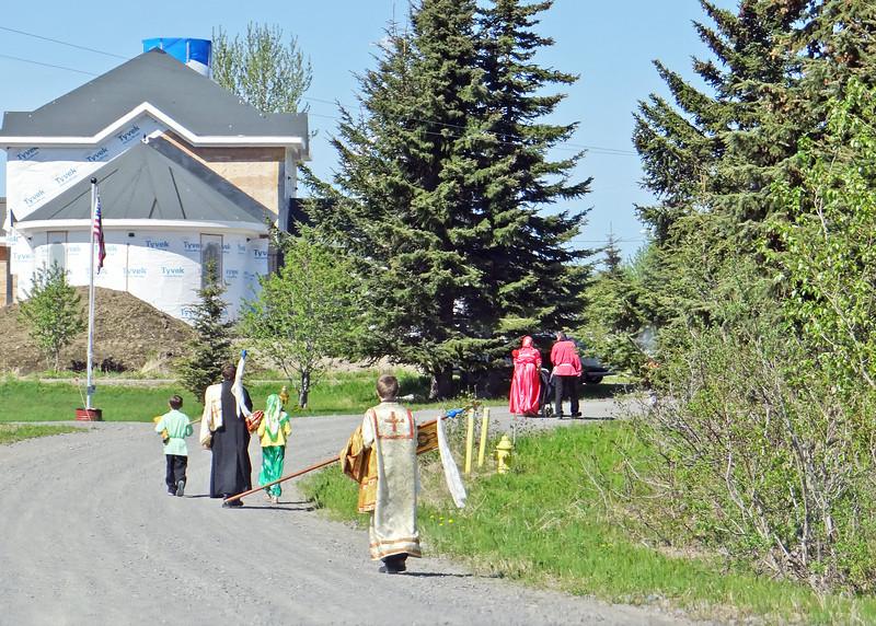 Walking to church in  Nikoleavsky