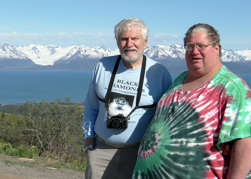 Mike and David with Kechemak Bay, mountains and glacier behind