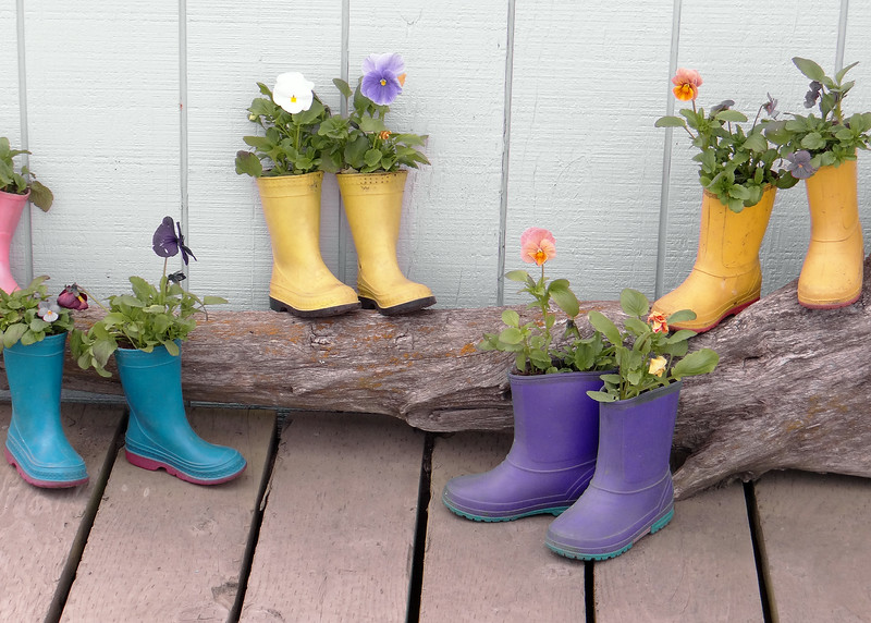 Flowers and boots on the Homer Spit