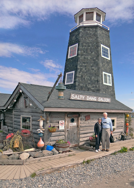 Susan and Mike in front of the Salty Dawg on the Homer Spit