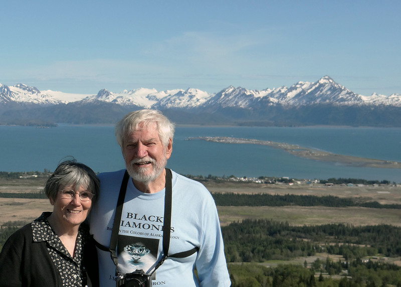 Susan and Mike with Kechemak Bay and the Homer Spit behind