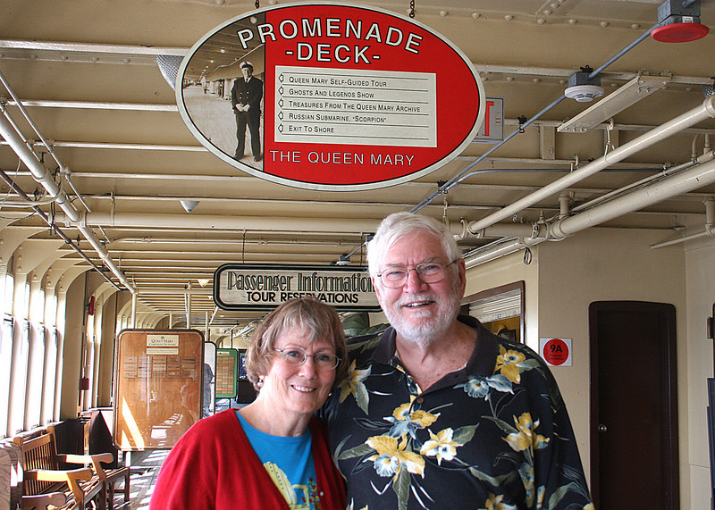 Mike and Susan on the Queen Mary where we had breakfast before boarding the ship