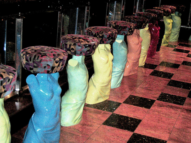 "The ""lady stools"" in Beauty, one of the lounges on the ship"