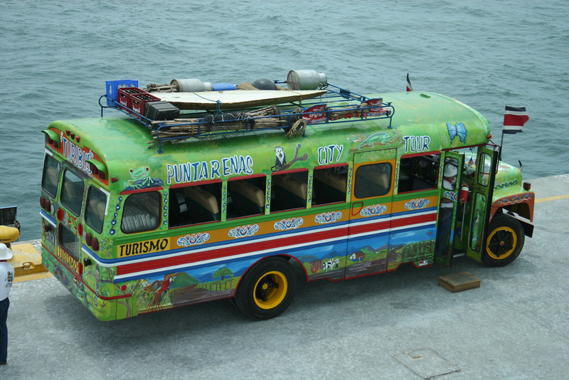 A colorful bus at the ship