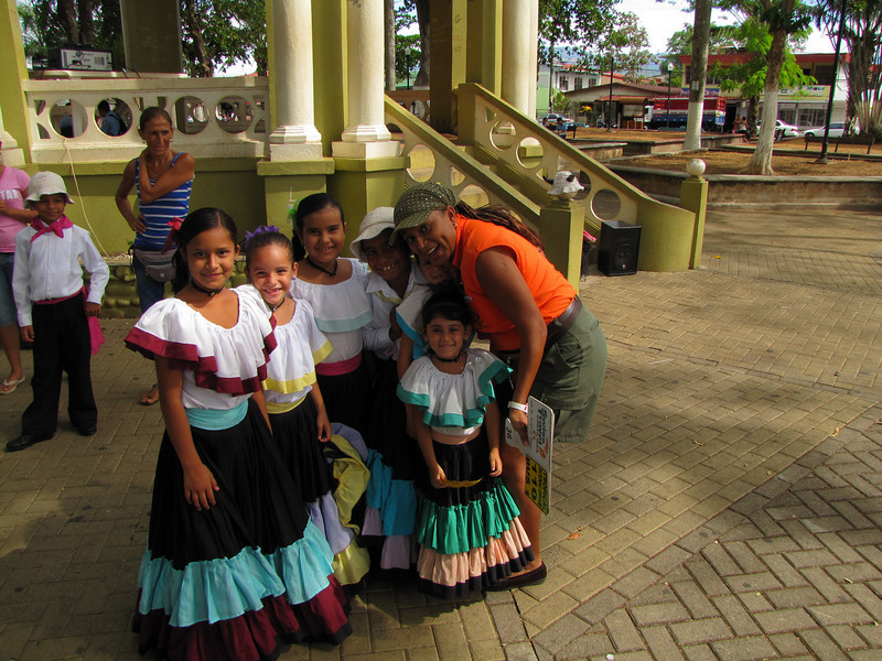Zelma posing with some of the dancers.  These are children from Esparaza.  They have to maintain good grades in order to be able to dance for the tourists.