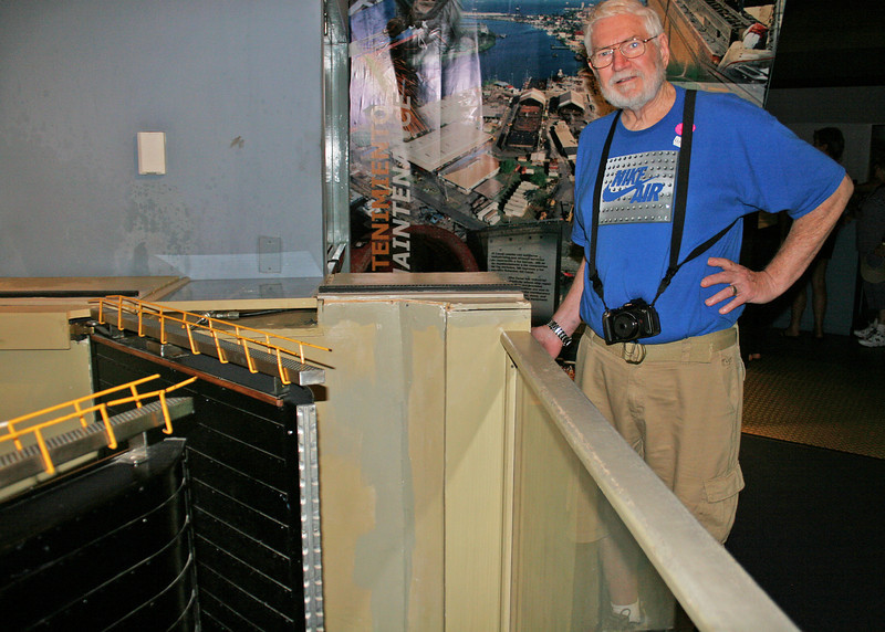 Mike at a replica of the Mira Flores Locks.  You are able to see how they operate.
