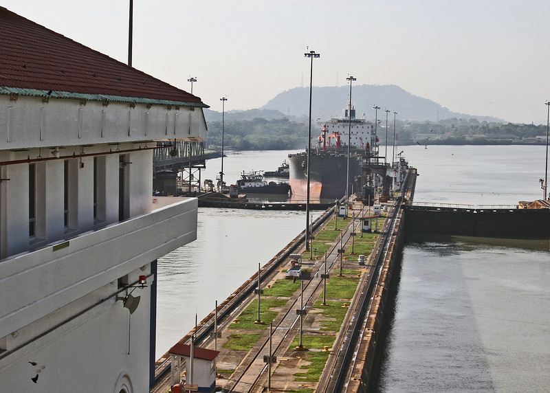 Miraflores Locks.  The lake in the background is Miraflores Lake.